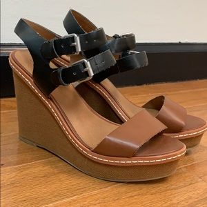 Black and Brown Wedge Sandals